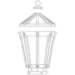 lantern style luminaire lamp drawing
