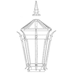 lantern with spike luminaire lamp drawing