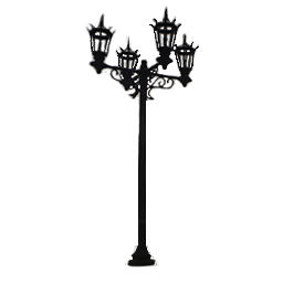 Quad Lamp Unit Lamp Post with Steepled Lantern Luminaires
